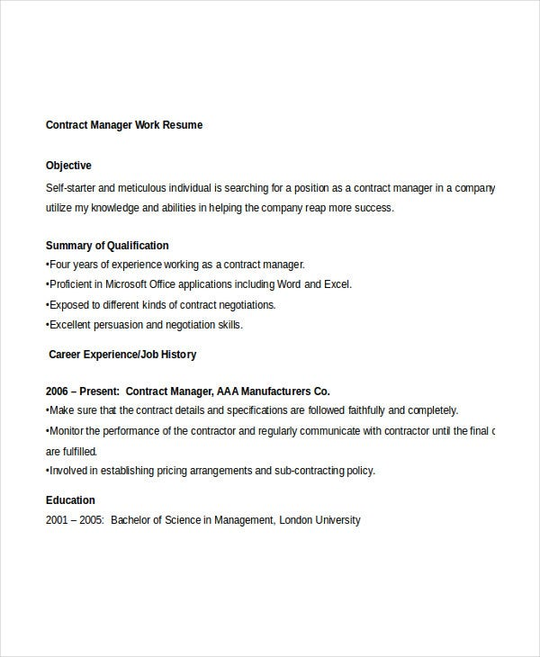 contract manager work resume