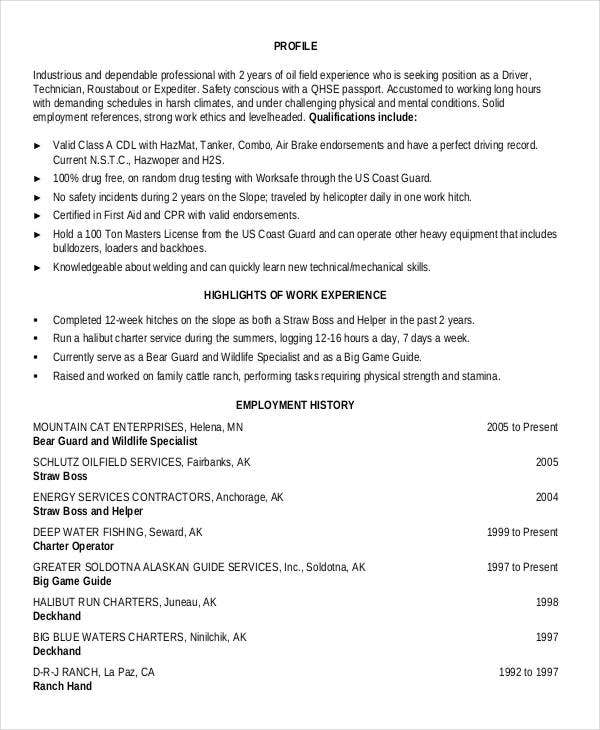 25  generic work resume