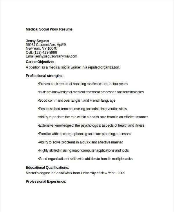 medical social work resume