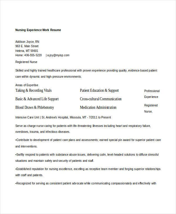 nursing experience work resume