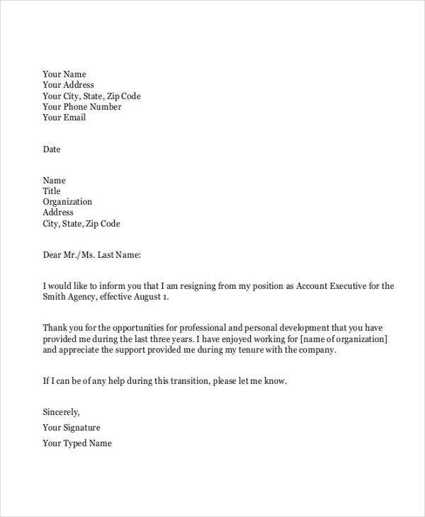formal resignation letter in pdf