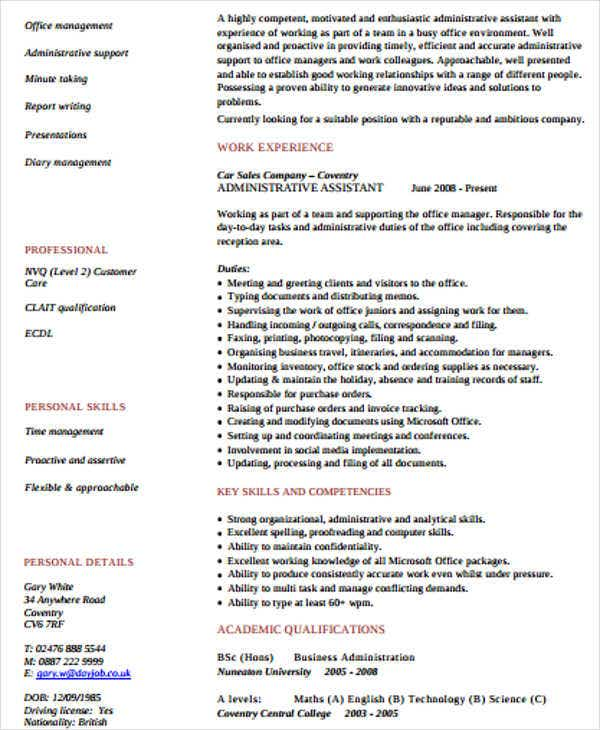 20 Work Resume Templates – Resume Template for Administrative Position
