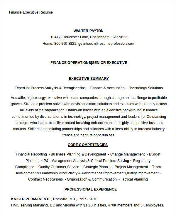 Finance Executive Resumes. Sample Executive Resume From The Career
