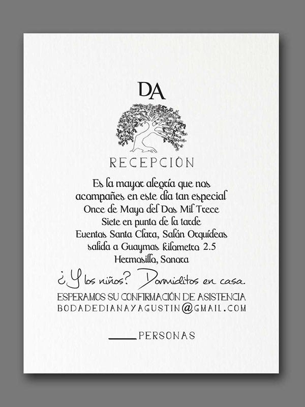 reception ceremony card