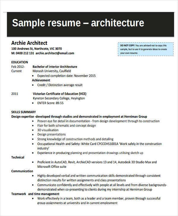 architectural engineering resume examples architectural engineering internship - Architectural Engineer Sample Resume