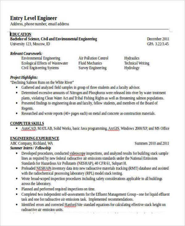 Professional Engineering Resume Templates  Free  Premium