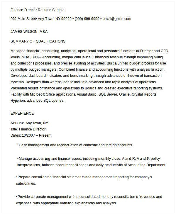 Finance Resume Samples - 23+ Free Word, Pdf Documents Download