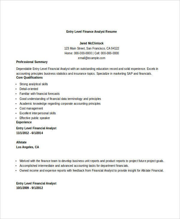 basic finance resume free word pdf documents download - Entry Level Financial Analyst Resume