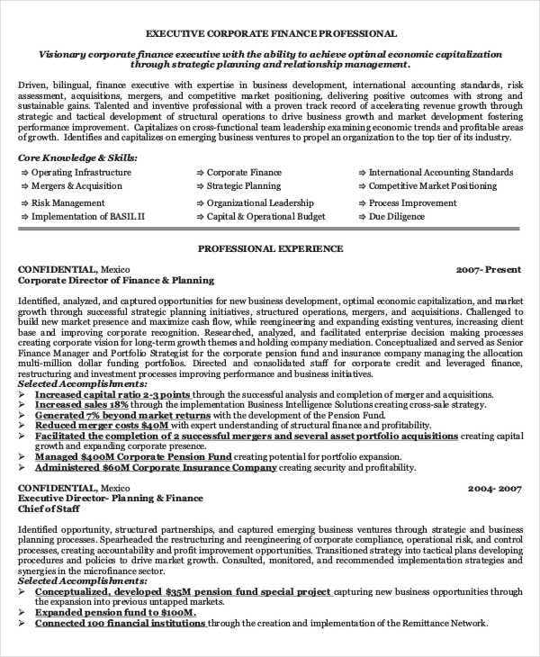 40 basic finance resume templates pdf doc free With finance executive resume