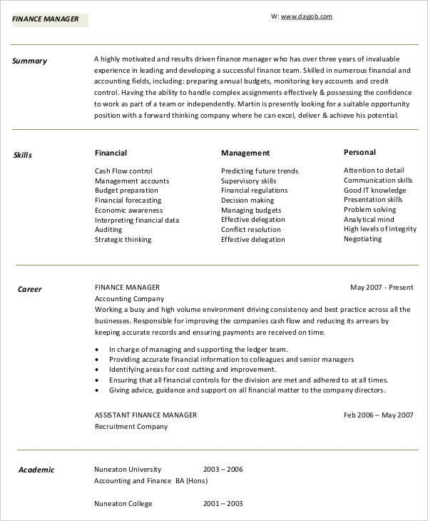 Corporate Finance Manager  Finance Resume Skills