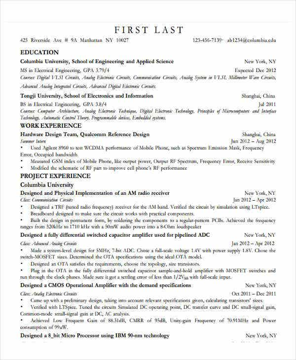 31 Professional Engineering Resume Templates Free Premium