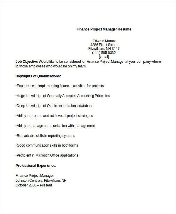 finance project manager resume3