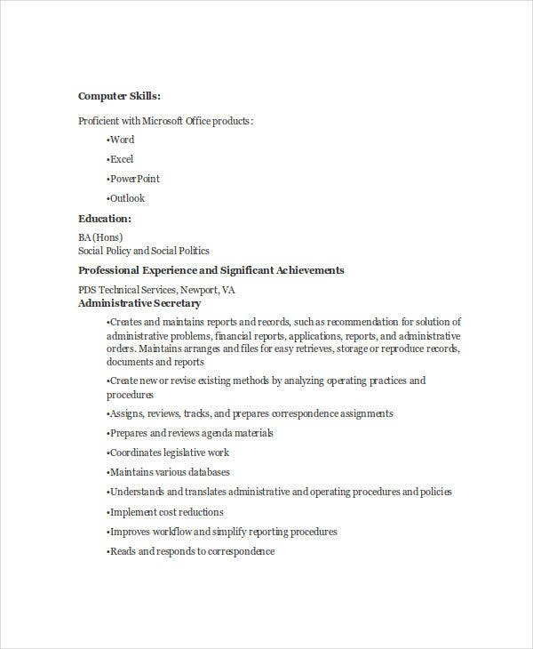 administrative secretary resume2