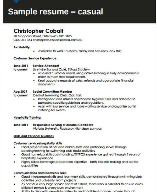 labor work resume sample