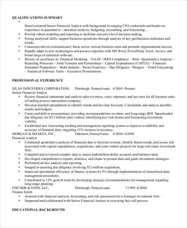 project finance analyst resume1