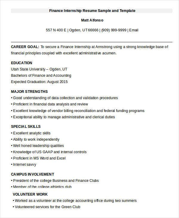 finance internship resume sample template format for college students word intern download