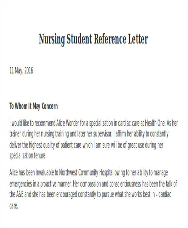 Great Nursing Student Reference Letter Template
