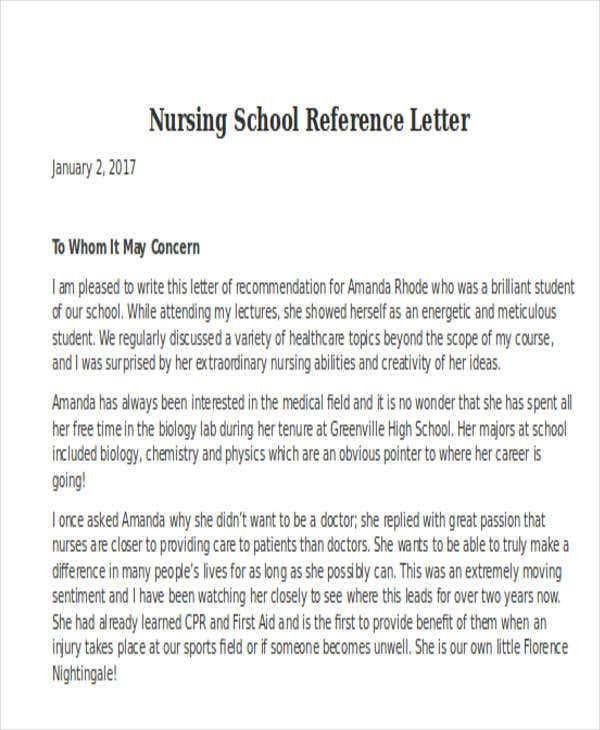 nursing reference letter templates