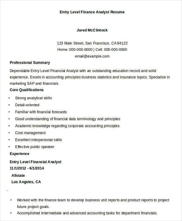 entry level finance analyst