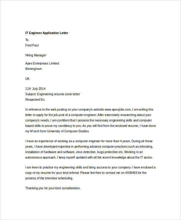 it engineer application letter