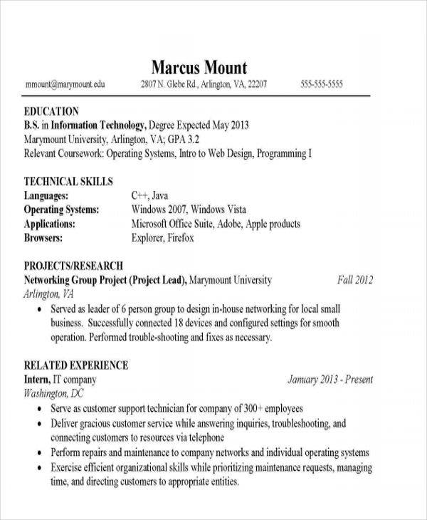 it student resume example