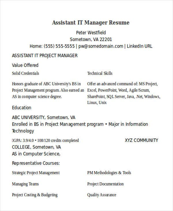 assistant it manager resume1
