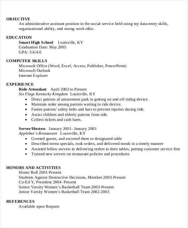 high school work resume in pdf