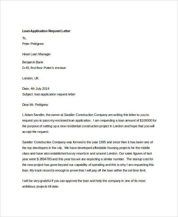 loan application request letter