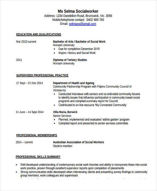 medical social work resume1