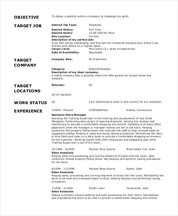 sample retail work resume