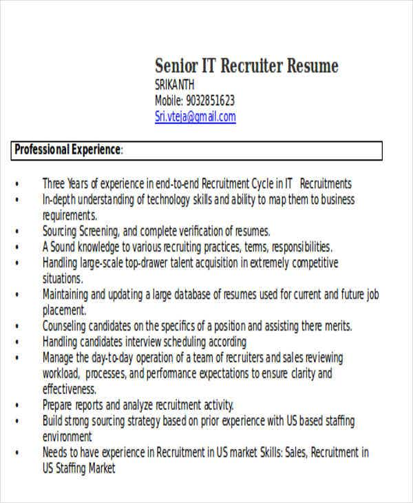 senior it recruiter resume