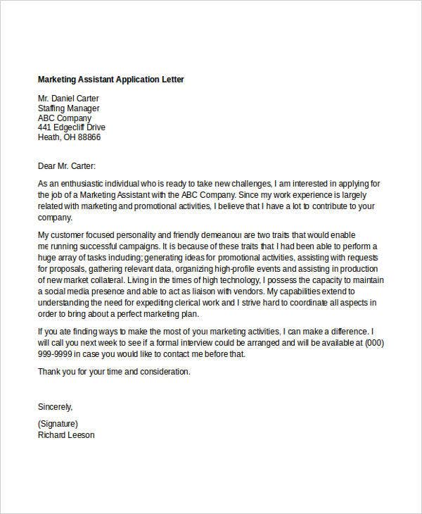 marketing assistant application letter2