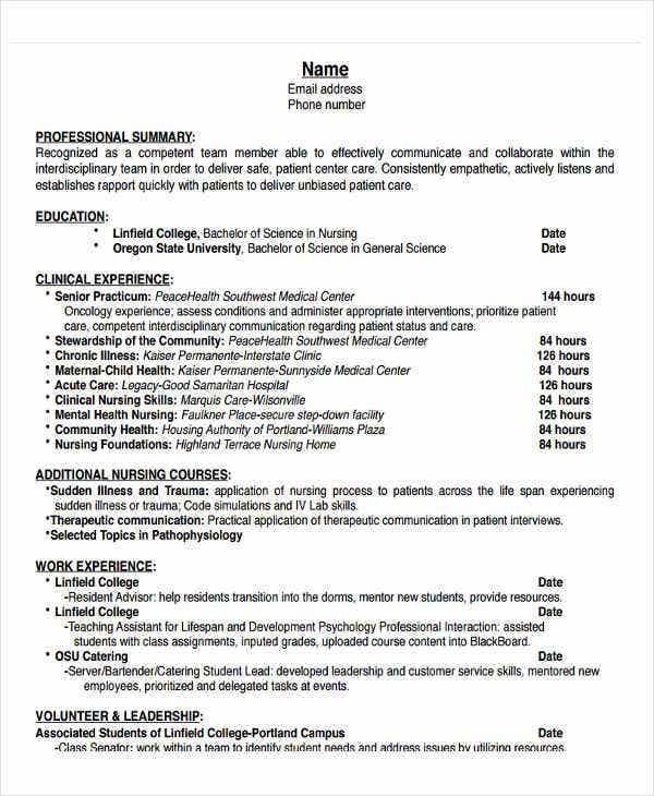 nursing work experience resume