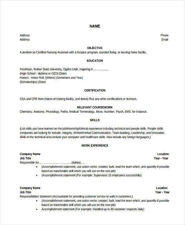 nursing assistant work experience resume