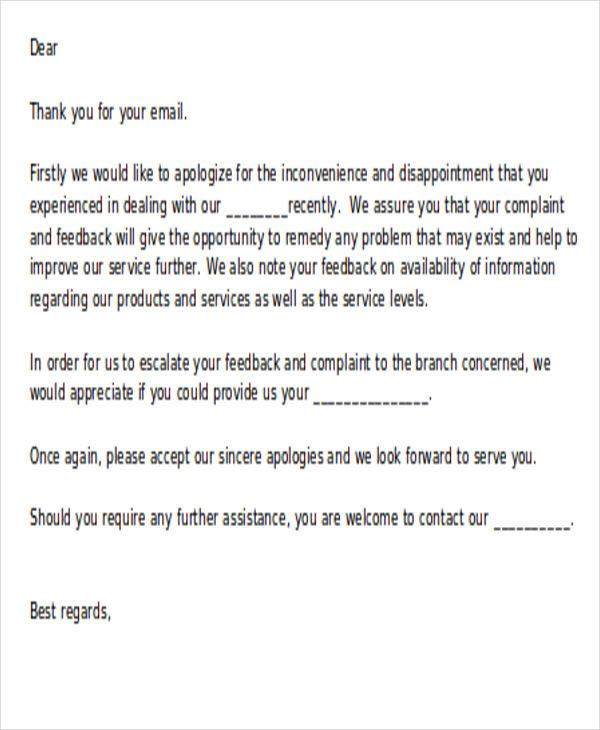 guest complaint response letter