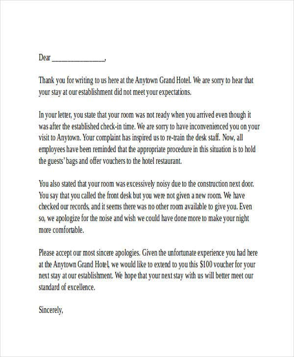 Hotel Apology Letter Absence Apology Letter Writing To Apologize