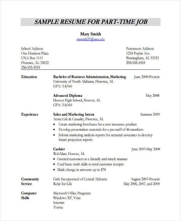 part time work resume example