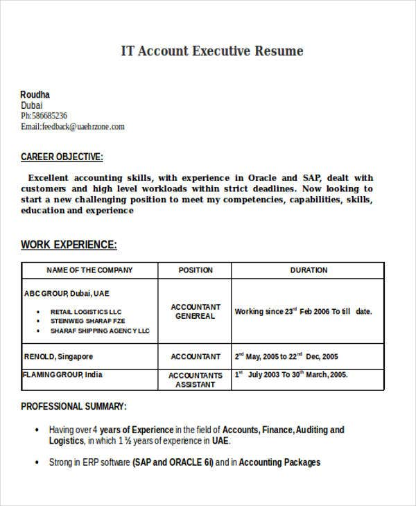 it account executive resume