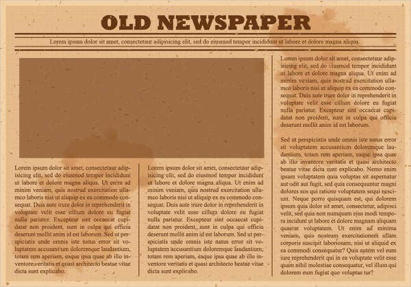 Printable Newspaper Templates  Free  Premium Templates
