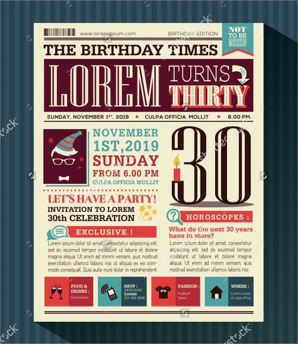 Birthday Card Newspaper Template
