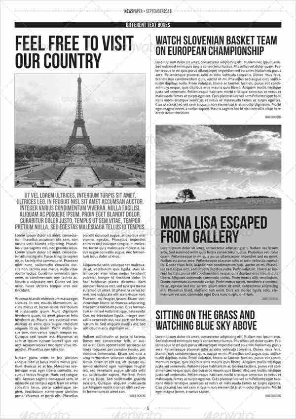 photograph regarding Printable Newspaper Template identified as 52+ Printable Newspaper Templates - PSD, Apple Internet pages
