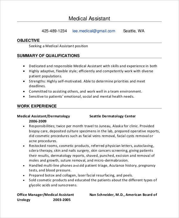 medical assistant work experience resume1
