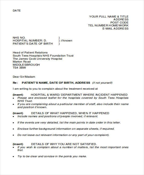 hospital patient complaint letter