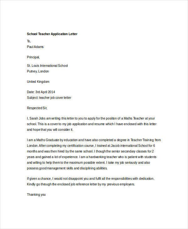 school teacher application letter1