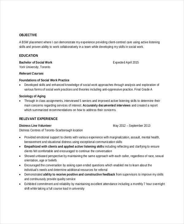 professional social work resume
