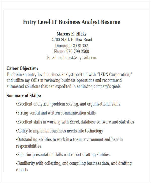 entry level it business analyst resume bestsampleresumecom - It Resume Template