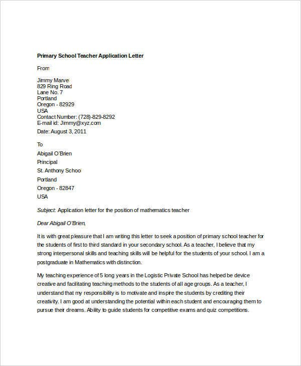 primary school teacher application letter2