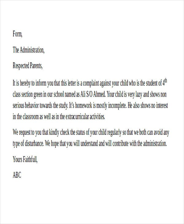 complaint letter to parents from school