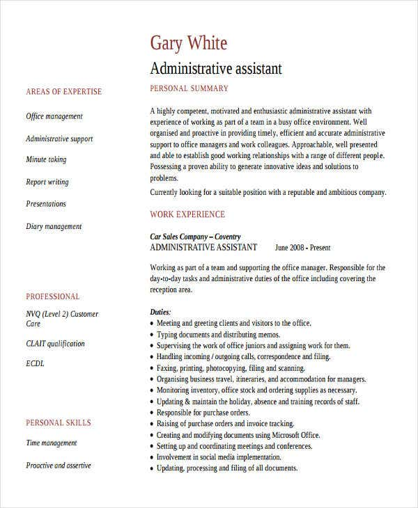 administrative assistant work resume5