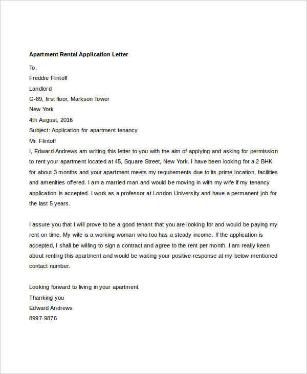 apartment rental application letter2